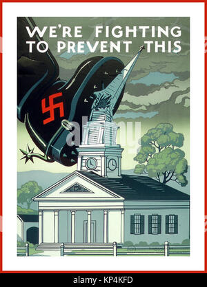 1940's WW2 Vintage American Propaganda Poster 'WE'RE FIGHTING TO PREVENT THIS' During WWII the US government used - Stock Photo