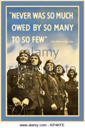1940's British Vintage WW2 RAF Royal Air Force propaganda poster  - with Prime Minister Winston Churchill famous - Stock Photo