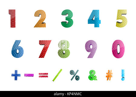 illustration of math numbers with icons on white background - Stock Photo