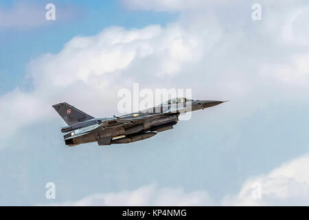 "Polish Air Force General Dynamics F-16 Block 52+ in flight.  Photographed at the  ""Blue-Flag"" 2017, an international - Stock Photo"