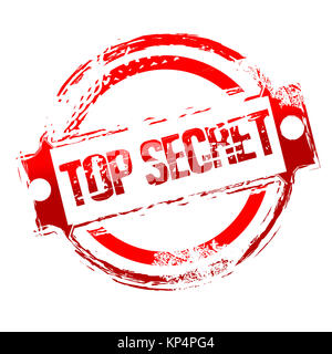 illustration of top secret stamp on isolated background - Stock Photo