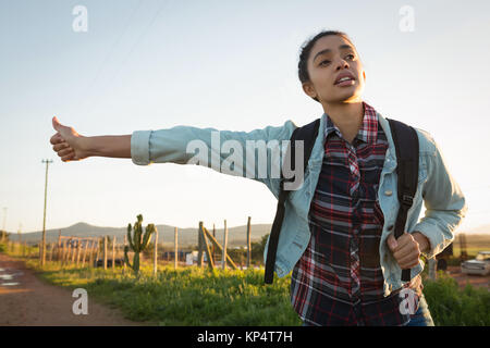 Young woman hitchhiking on a sunny day - Stock Photo