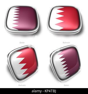 3d qatar and bahrain flag button - Stock Photo
