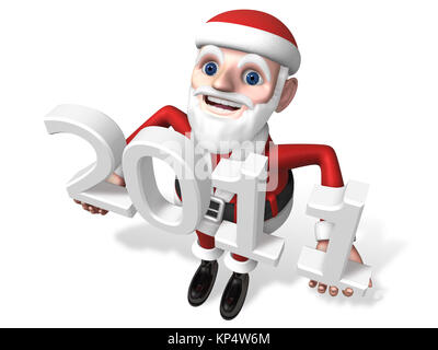 3d standing santa looking up with 2011 letter - Stock Photo