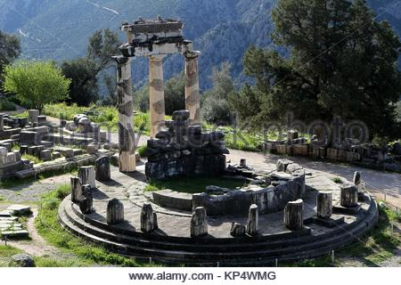 The Tholos at the sanctuary of Athena Pronaia, a circular building with Doric columns 380 BC. Delphi Greece - Stock Photo