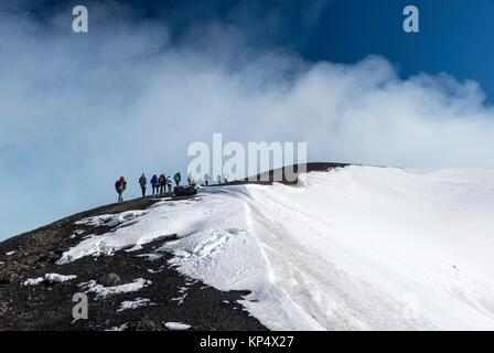 Guided excursion, Torre del Filosofo, Etna National Park, Province of Catania, Sicily, Italy, Europe. - Stock Photo