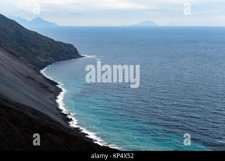 Northeast hillside of the Stromboli Island, Aeolian Islands, Province of Messina, Sicily, Italy, Europe. - Stock Photo