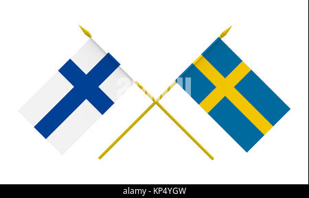 Flags, Finland and Sweden - Stock Photo
