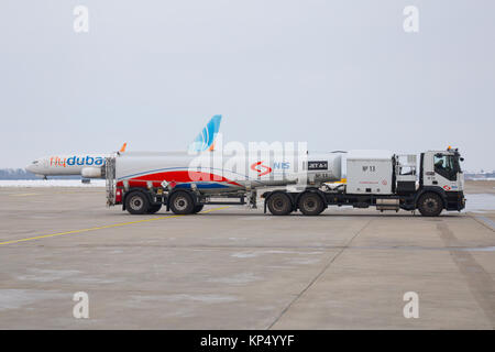 Airport aviation fuel truck IVECO of NIS Company (Naftna Industrija Srbije) carrying Jet A1 fuel at International - Stock Photo