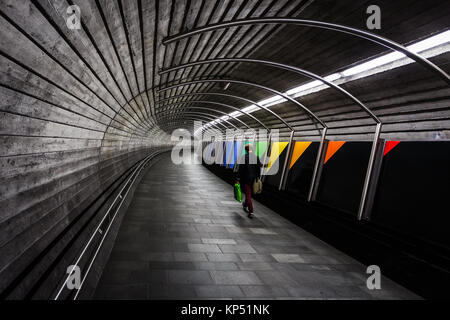 The futuristic, colorfull and modern architecture in the train station Nationaltheatre in Oslo, Norway. This underground - Stock Photo