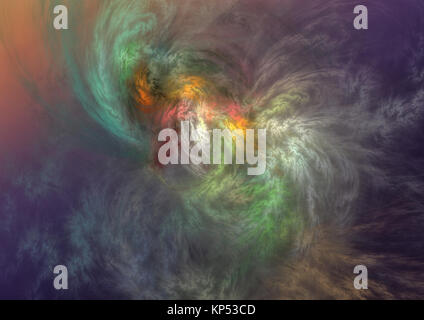 Flame fractal, digitally generated image - Stock Photo