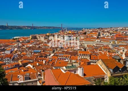 Baixa Pombalina, on background 25 April bridge, Port of Lisbon, Tagus River, from Lisbon Castle, Lisbon, Portugal, - Stock Photo