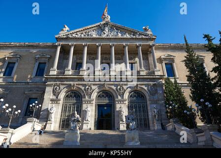 National Library of Madrid, Paseo de Recoletos, Spain. Europe, architecture and art. - Stock Photo