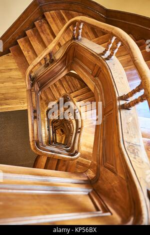 Wooden Stair view from Above. - Stock Photo