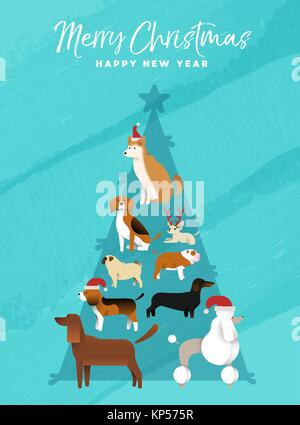 Merry Christmas Happy New Year fun holiday greeting card illustration of dogs making xmas pine tree shape. Includes - Stock Photo