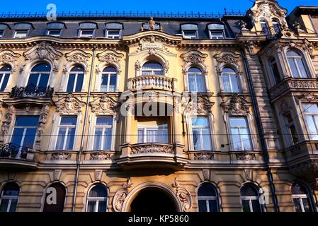 Facade of Kiper Brothers' Townhouse built in XIX century, Gdanska street number 42, Old Polesie, Lodz, Poland, Europe - Stock Photo