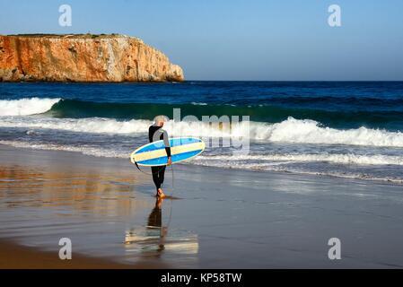 Europe, Portugal, Southern Portugal , Algarve region , Faro district , Sagres, Mareta beach - Praia da Mareta , - Stock Photo