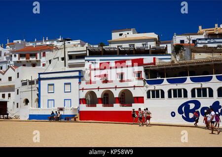 Europe, Portugal, Algarve, Lagoa, Carvoeiro, beachfront colorful townhouses - Stock Photo
