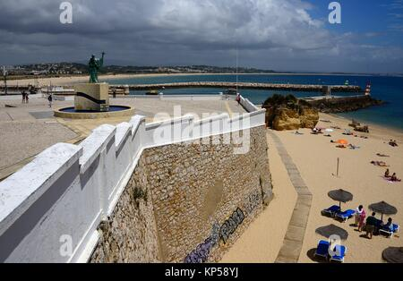Europe, Atlantic Ocean, Portugal, Southern Portugal , Algarve region , Faro district , Lagos, panoramic view of - Stock Photo
