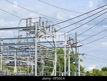 Outdoor Electrical substation with isolators and cables - Stock Photo