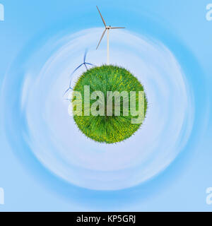 green with little planet effect,Green planet, conceptual artwork. - Stock Photo
