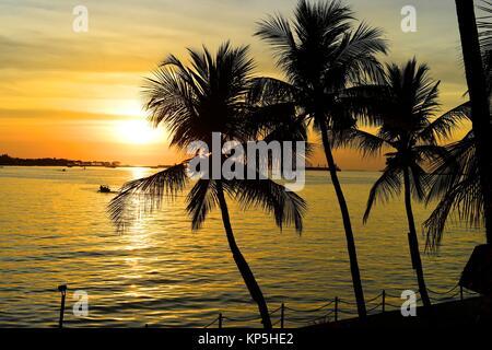 Sunset at Makassar,(formerly Ujung Pandang), Sulawesi island,Indonesia. - Stock Photo