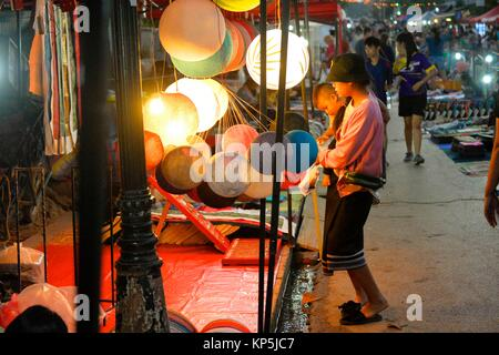Night market,Luang Prabang,Laos,Southeast Asia. - Stock Photo