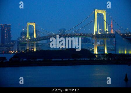 Rainbow bridge from Odaiba,Tokyo, Japan,Asia. - Stock Photo