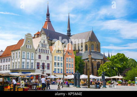 Gabled houses around New Market Square in Rostock. Mecklenburg-Western Pomerania, Germany - Stock Photo
