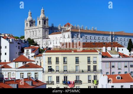 Skyline at Alfama, the oldest district of the city. Lisbon, Portugal - Stock Photo