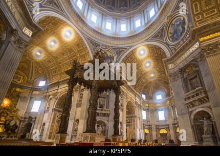 Papal Basilica of Saint Peter in the Vatican Interior on February 5, 2017 in Rome Italy. - Stock Photo