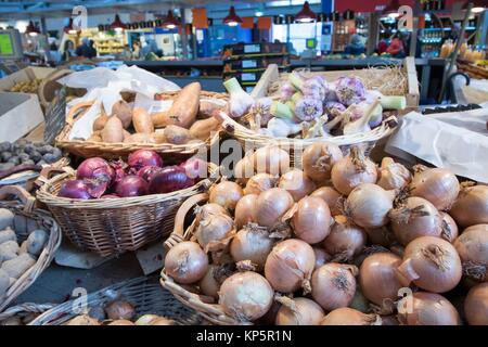 Inside views of the Market Hall in the old town part of Colmar on May 14, 2016. Colmar is a city in region Alsace - Stock Photo
