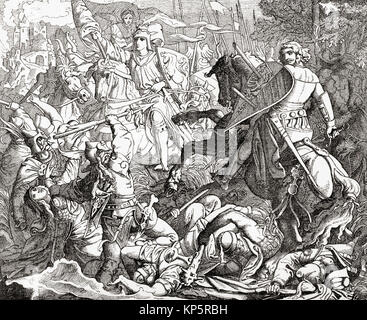 Otto I the Great at The Second Battle of Lechfeld, 10 August 955.  Otto I, 912 –  973, aka Otto the Great.  German - Stock Photo
