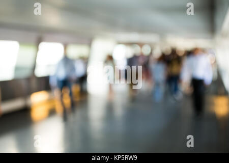 Blur background of pedestrian in footbridge - Stock Photo