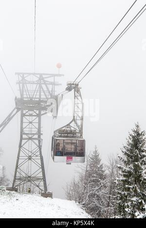 Cable car to Gimmelwald in Lauterbrunnen valley on April 19, 2017 Junfrau region Swtzerland. - Stock Photo