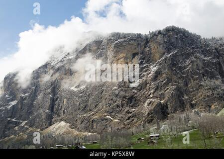 Landscape in Lauterbrunnen Junfrau region Berner Oberland Switzerland. - Stock Photo