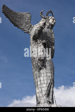 Detail of the huge aluminium covered statue of the Virgin of Quito. The statue is sited on the top of the hill above - Stock Photo
