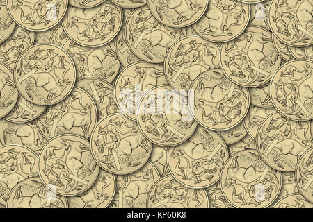 Motley background from chaotically scattered Australian one dollar coins abstract seamless patterns background. - Stock Photo