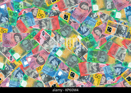 Motley background from chaotically scattered Australian dollar banknotes abstract seamless geometrical patterns - Stock Photo