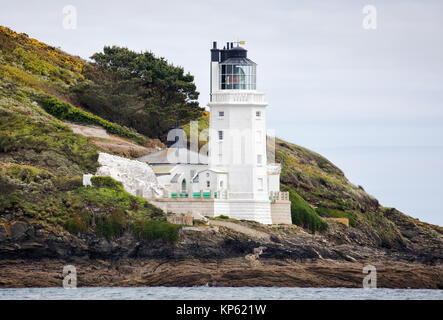 St Anthony's Head lighthouse on St Anthony Head on the Roseland peninsula near Falmouth in Cornwall UK - Stock Photo