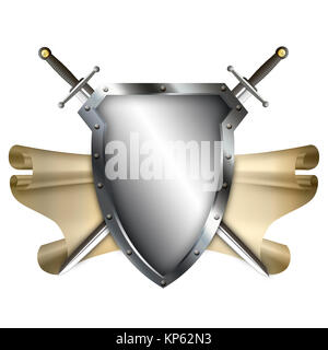 Medieval shield with scroll of parchment and two swords on white background. - Stock Photo