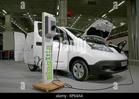 HELSINKI, FINLAND - JUNE 11, 2015: Nissan Nordic Europe Oy presents e-NV200 electric van at Logistics Transport - Stock Photo