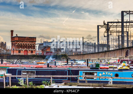 The Victorian water tower and St Pancras International station from St Pancras Lock, Regent's Canal, London, UK, - Stock Photo