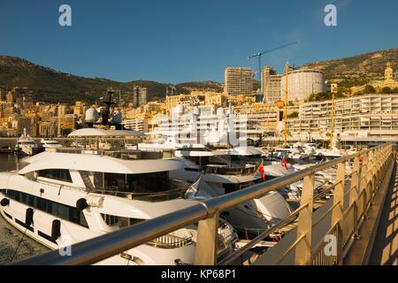 Port and Cityscape over Monte Carlo in a Sunny Day in Provence-Alpes-Côte d´Azur, Monaco. - Stock Photo