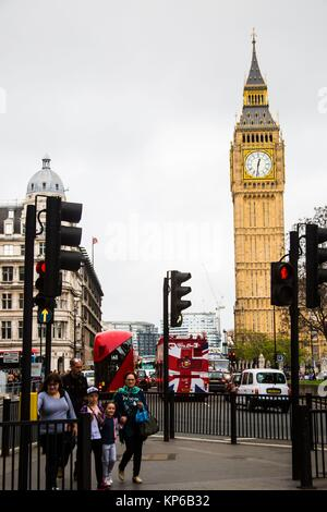 View of Big Ben and Houses of Parliament, in London, UK, England from the streets. Vertical photo