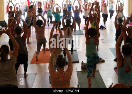 Chamonix Yoga Festival. Yoga class. France. - Stock Photo