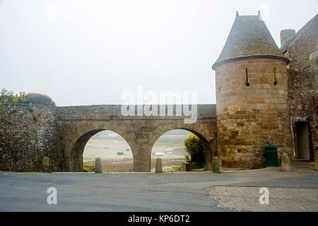 is a strengthened keep with three linked towers, located in the estuary of the river Rance in Brittany.It was built - Stock Photo
