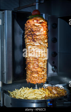 turkish doner kebab in a restaurant in istanbul, chicken doner kebab - Stock Photo
