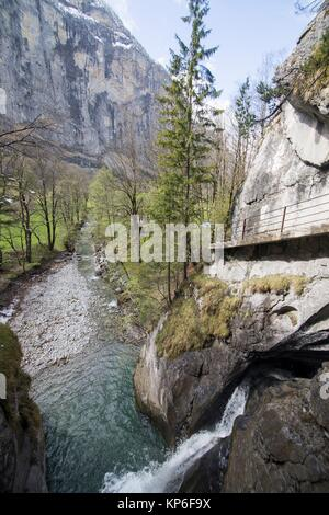 Landscape in Lauterbrunnen Junfrau region Berner Oberland Switzerland Trummelbachfalle cascades. - Stock Photo