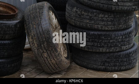 old tires in stack - Stock Photo